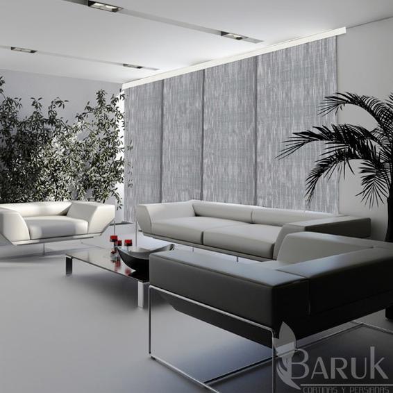Cortinas Panel Japones Gris Blanco Cenefa 1 80 X 2 20 Alfombras Tapetes Pisos Laminados Cortinas Y Persianas
